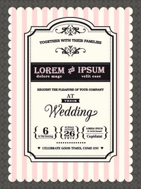 retro wedding invitations cards design vector
