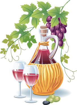 retro wine and food design vector