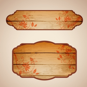 retro wooden signboard sets flowers pattern ornament