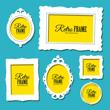 retro yellow with white photo frame vector