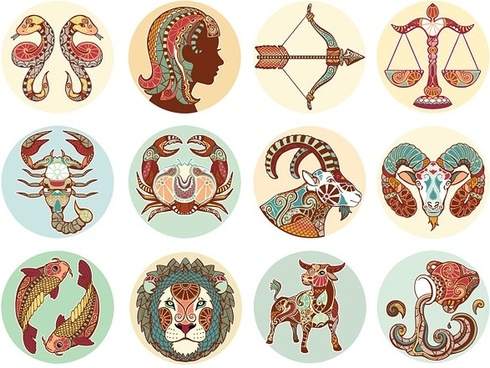 retro zodiac pattern vector