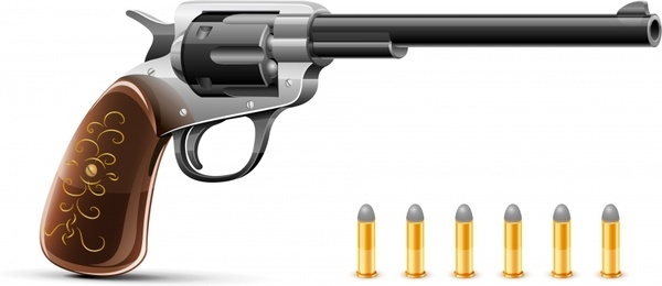 short gun advertising shiny colored realistic 3d design