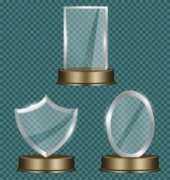 reward icons collection 3d shiny transparent decor