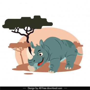 rhino animal painting colored cartoon sketch