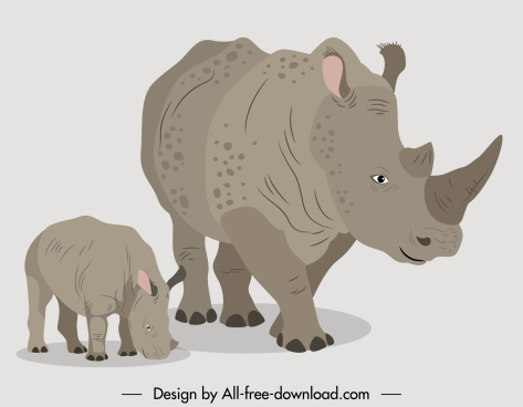 rhino animals icons mother baby sketch 3d design