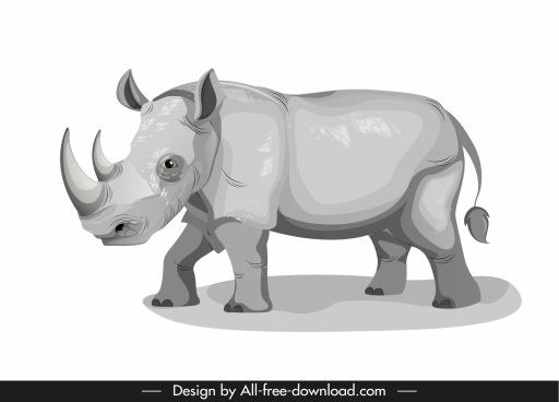 rhino icon cartoon sketch grey design