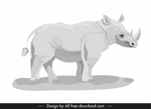 rhino icon modern bright grey sketch