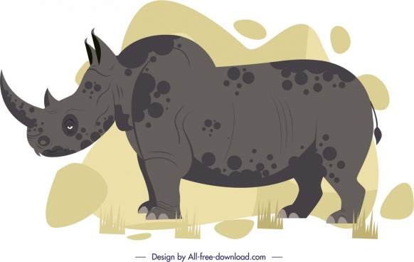 rhino painting dark design cartoon character sketch