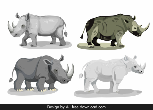rhino species icons grey sketch