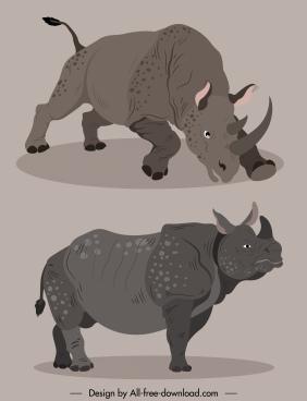 rhino species icons handdrawn cartoon 3d sketch