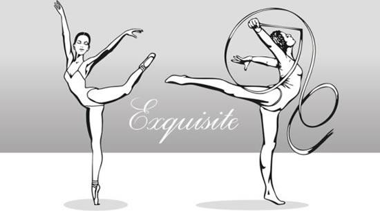 rhythmic dancer icons black white cartoon sketch