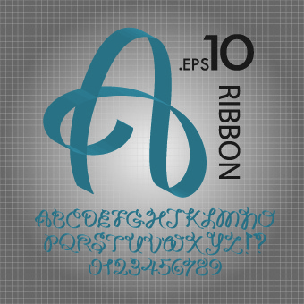ribbon alphabet font design vector