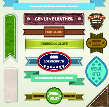 ribbon and label retro design vector graphics