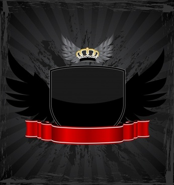 banner template dark wings crown ribbon shield decor