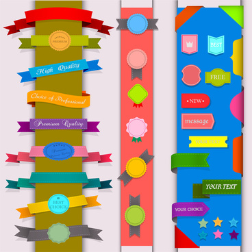 ribbon badge label collection design element
