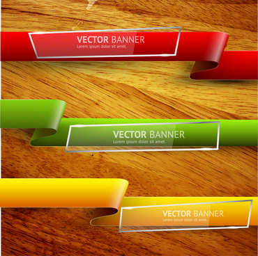 ribbon banner on wood background