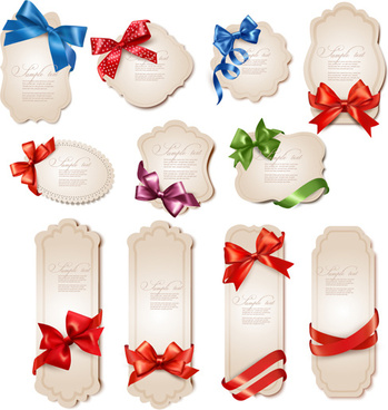 ribbon bow holiday labels design vector