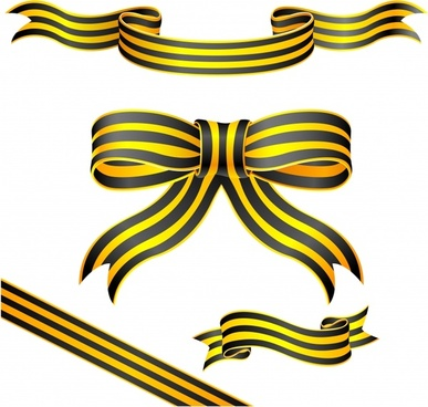 ribbon templates 3d black yellow design