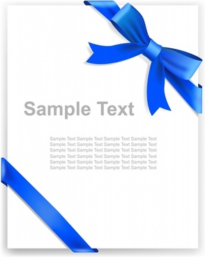 document decor template elegant 3d blue bow sketch