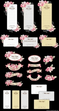 ribbon cards with handpainted flowers vector powder