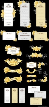 ribbon cards with handpainted flowers vector yellow