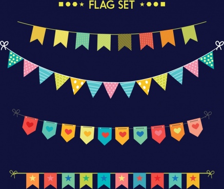 ribbon flags design elements various colored shapes isolation