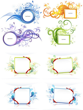 ribbon floral decorative frame vector