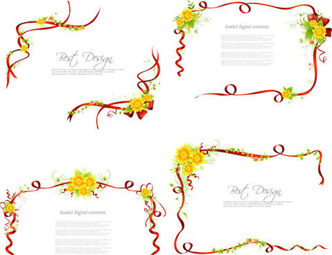 ribbon fresh border frames vector