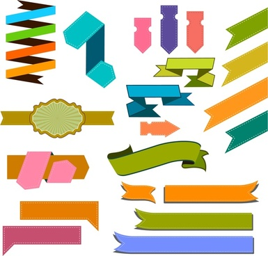 ribbon label sets isolated with various colored shapes