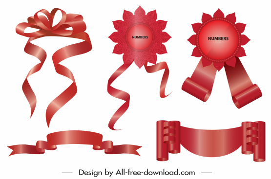 ribbon label templates shiny elegant red 3d sketch