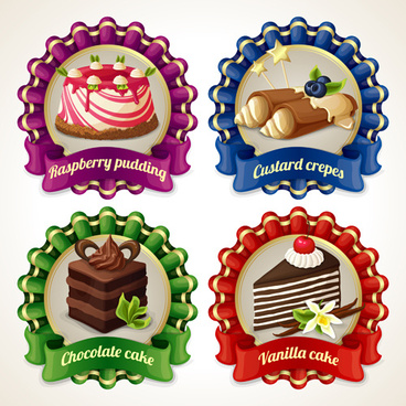 ribbon labels sweet design vector graphics