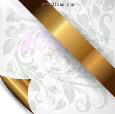 cover background template golden ribbon classic floral sketch