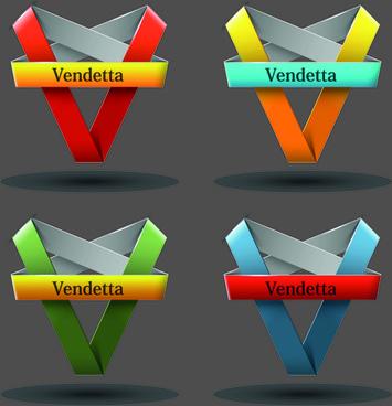 ribbon shape logos design elements vector