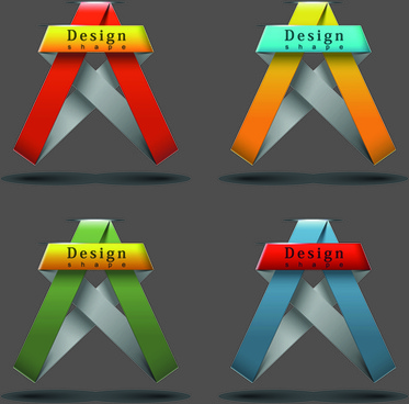 ribbon shape logos design elements vector