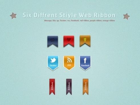 ribbon stickers 01 psd