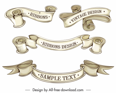 ribbon templates 3d retro handdrawn design curled shapes