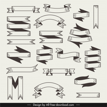 ribbon templates black white classical flat sketch