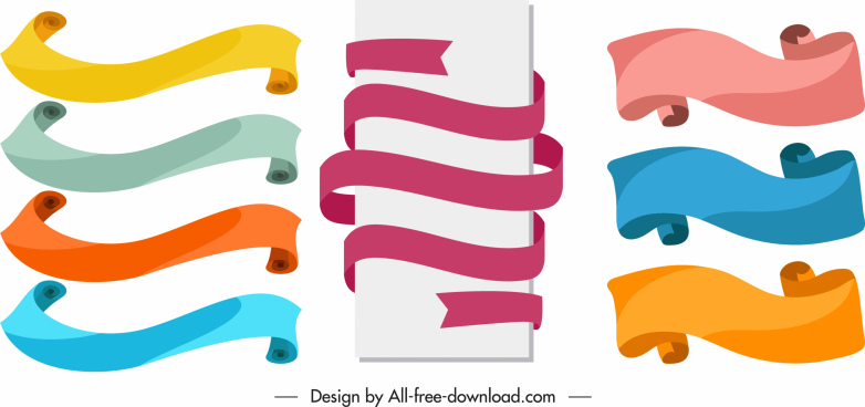 ribbon templates classic colorful curled shapes
