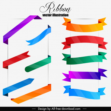 ribbon templates collection modern colorful design