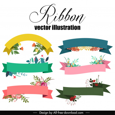 ribbon templates floral decor colorful classical design