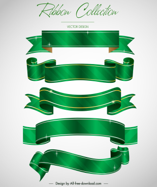 ribbon templates modern green 3d blank sketch