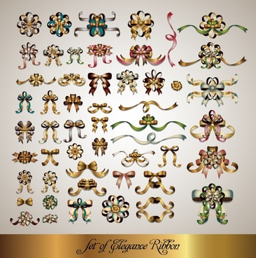 ribbon decorative elements shiny luxury symmetric design