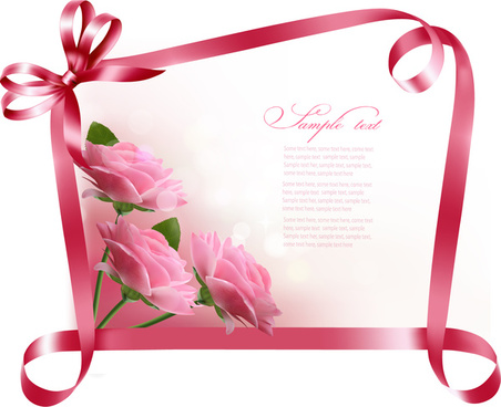 ribbon with flower greeting card vector
