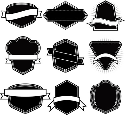 ribbon with labels blank template vector