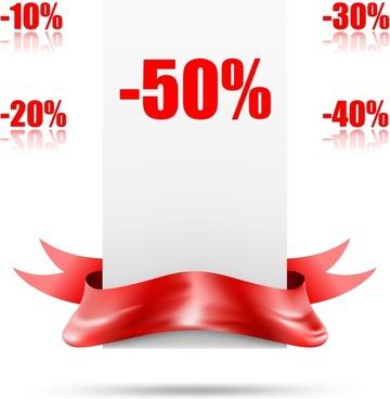sales design elements shiny red ribbon percent sketch