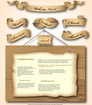 webpage design elements ribbon menu retro wooden decor