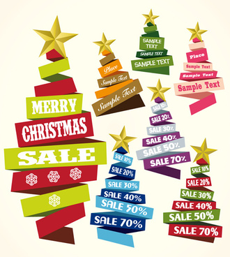 ribbon xmas tree discount sales vector