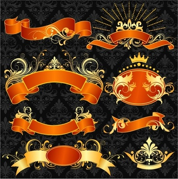 decorative ribbons collection elegant 3d orange golden decor