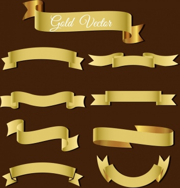 ribbons template collection 3d shiny golden design