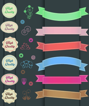 ribbons with labels retro style vector